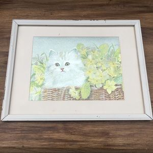 Vintage Framed Foil Print Kitty Cat in Basket